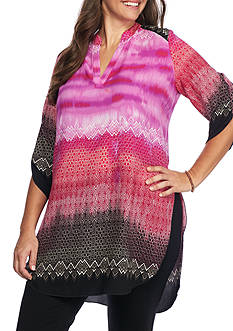 New Directions Plus Size Notch Neck With Tunic Side Slants Woven Shirt