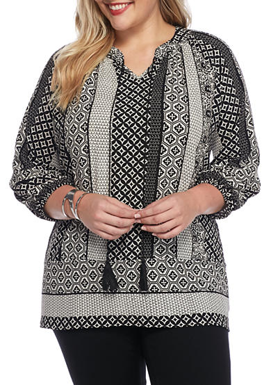 New Directions® Plus Size 3/4 Sleeve Printed Peasant Top