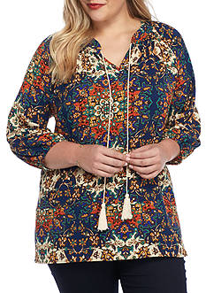 New Directions Plus Size Three-Quarter Sleeve Printed Peasant Top