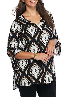 New Directions Plus Size Tie Sleeve Woven Tunic Shirt