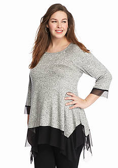 New Directions® Plus Size Mesh Trim Knit Tunic