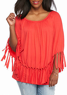 New Directions® Plus Size Fringe Poncho Top