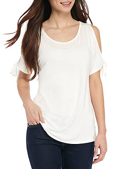 New Directions Petite Cold Shoulder Tie Sleeve Top