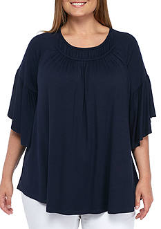 New Directions® Plus Size Bell Sleeve Ruffled Knit Top