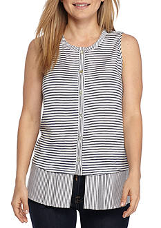 New Directions® Petite Sleeveless Striped Button Down Top