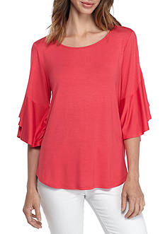 New Directions Petite Flutter Sleeve Knit Top
