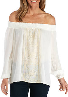New Directions Petite Off-the-Shoulder Embroidered Front Blouse