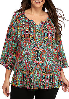 New Directions® Plus Size Printed Button Front Blouse