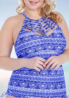 Raisins Curve Plus Size Tahiti Tide Hi-Neck Boa Tankini Swim Top