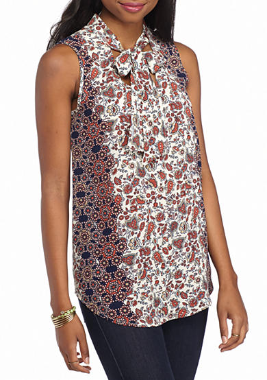Red Camel® Sleeveless Bow Neck Printed Tank