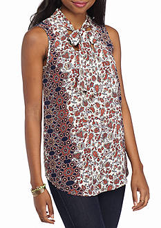 Red Camel Sleeveless Bow Neck Printed Tank