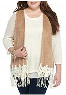 Red Camel® Plus Size Suede Lace Fringe Vest