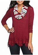 Red Camel® Hacci Lace Hem 2 Fer With Scarf