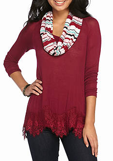 Red Camel Hacci Lace Hem 2 Fer With Scarf