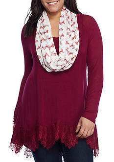 Red Camel® Plus Size Lace Hem Attached Scarf Top