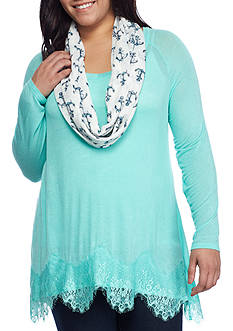 Red Camel® Plus Size Attached Scarf Lace Hem Top