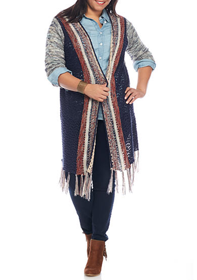 Red Camel Girls® Plus Size Stitch Fringe Cardigan