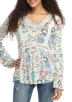 Red Camel® Printed Crochet Detail Knit Top