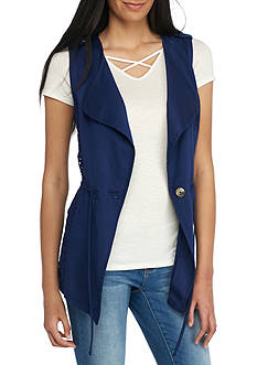Red Camel Twill Vest With Lace