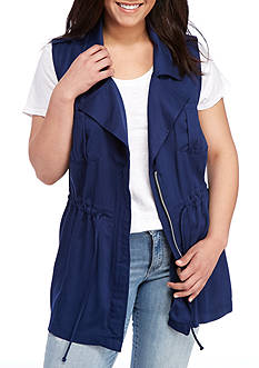 Red Camel Plus Size Washed Drawstring Vest