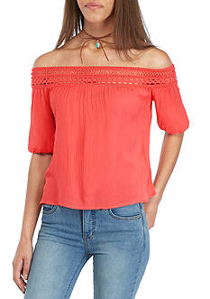 Red Camel® Crochet Crop Top 2Fer With Crochet Necklace