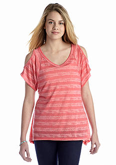 Red Camel® Striped Burnout Cold Shoulder Tee