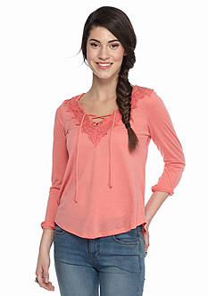 Red Camel® Lace Up Crochet Back Top