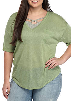 Red Camel® Plus Size Pocket V-Neck Bralette Top