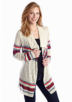 New Directions® Aztec Drape Front Cardigan