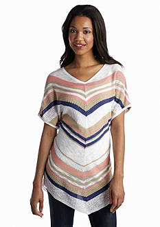New Directions® Striped Pointelle Short Sleeve Dolman Sweater