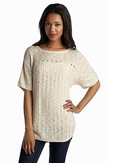 New Directions® Solid Pointelle Boat Neck Sweater