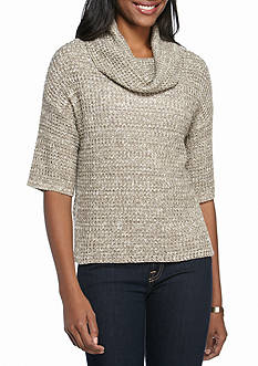 New Directions Marled Waffle Cowl Neck Sweater