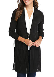 New Directions Ribbed Tie Front Cardigan