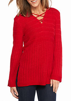 New Directions® Criss Cross Mixed Rib Sweater