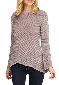 New Directions Flared Sleeve Crossover Sweater