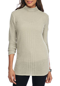 New Directions Ribbed Mock Neck Sweater