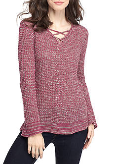 New Directions Lace Up Caged Tunic Sweater