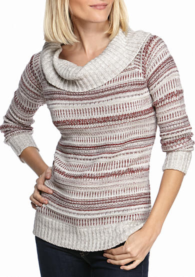 New Directions® Multi Stripe Cowl Neck Sweater