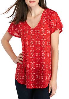 New Directions Weekend Short Sleeve Bandanna Printed Knit Tee