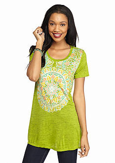 New Directions® Weekend Lace Medallion Foil Screen Tunic