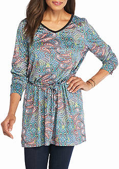 New Directions Weekend Faux Suede Paisley Printed Tunic