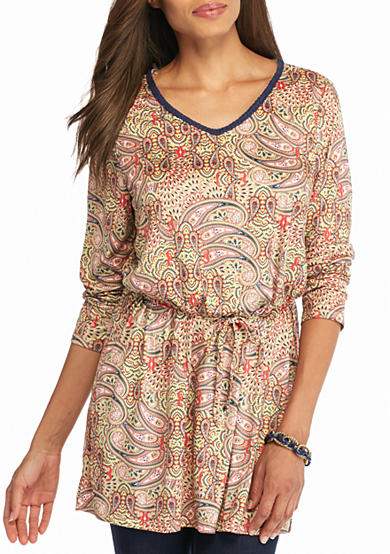 New Directions® Weekend Faux Suede Paisley Printed Tunic