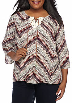 New Directions Weekend Plus Size Chevron Print Peasant Top