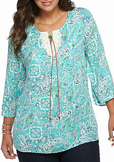 New Directions Weekend Plus Size Lace-Up Peasant Top