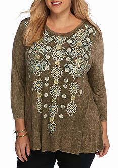 New Directions Weekend Plus Size Babydoll Swing Top