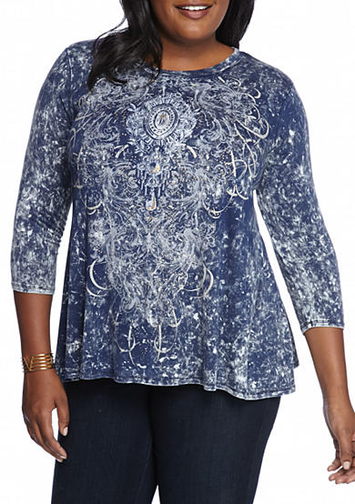New Directions® Weekend Plus Size Three Quarter Sleeve Swing Top