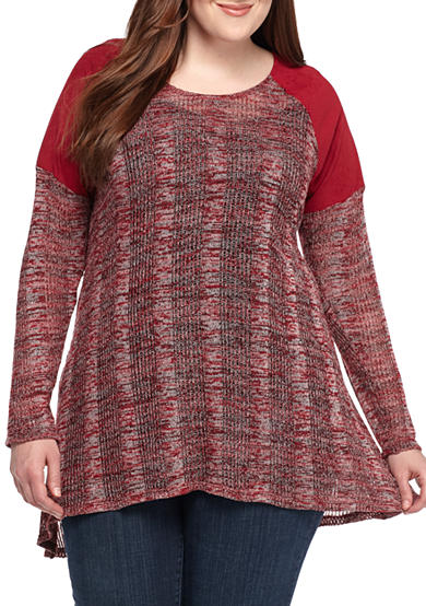 New Directions® Plus Size Faux Suede Knit Top