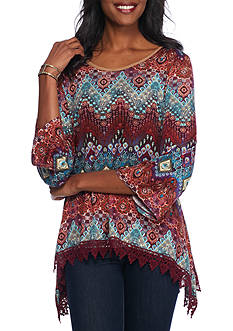 New Directions Weekend Mixed Print X-Back Lace Trim Top