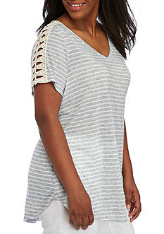 New Directions® Weekend Plus Size Striped Lace Trim Top