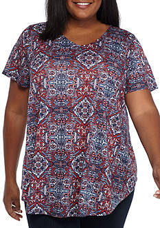 New Directions Weekend Plus Size Lace Back Americana Knit Top